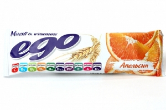 Батончик-мюсли Эго Апельсин с витаминами 25 гр.