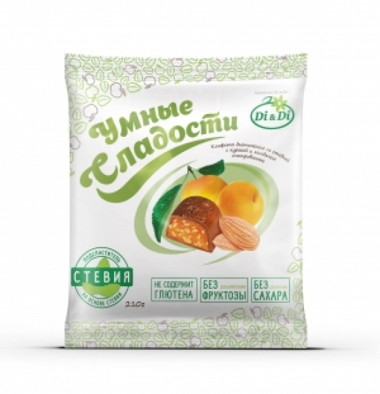 """Конфеты """"Умные сладости"""" с курагой и миндалем, глазированные 210 гр."""