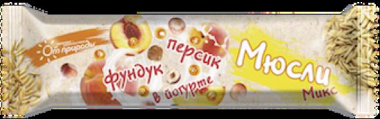 Батончик-мюсли Фундук/Персик в йогурте 25 гр. №15 шт.