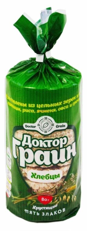 Цельнозерновые хлебцы 5 злаков Доктор Граин 80 гр