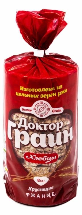 Цельнозерновые ржаные хлебцы Доктор Граин 80 гр