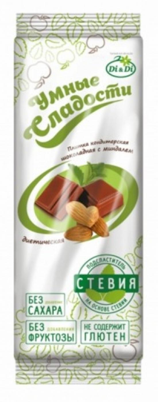 """Плитка кондитерская """"Умные сладости"""" с миндалем 90 гр."""