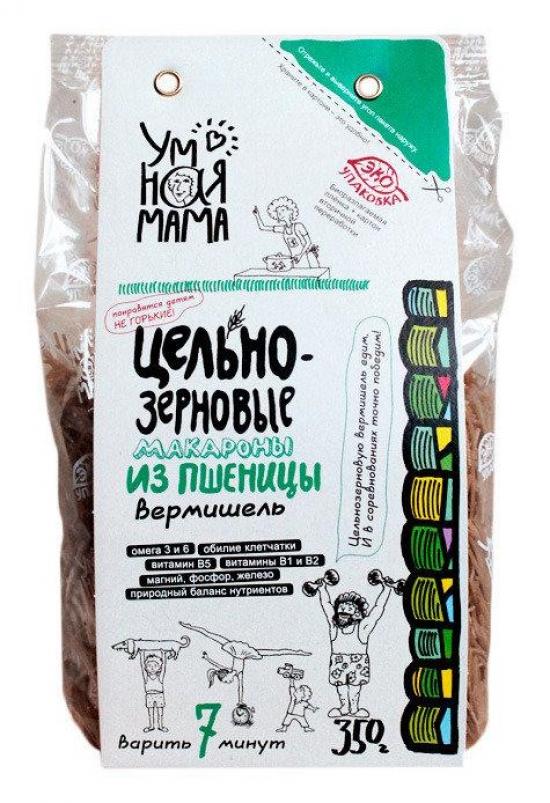 Цельнозерновые макароны из пшеницы вермишель Умная мама 350гр.