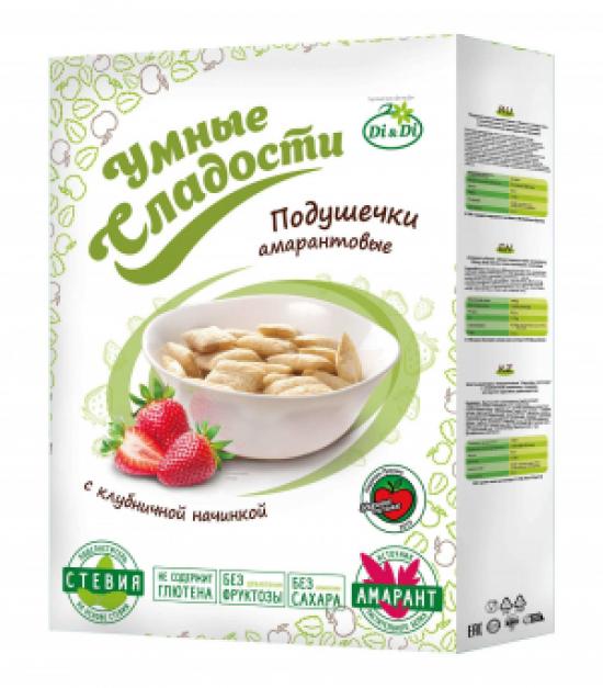 Подушечки без глютена «Умные сладости» с клубничной начинкой со стевией 220 г