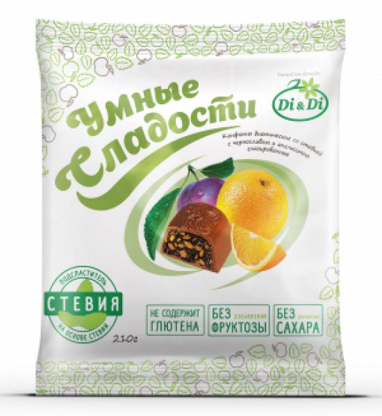 """Конфеты без сахара """"Умные сладости"""" чернослив с апельсином в шоколадной глазури 210 г"""