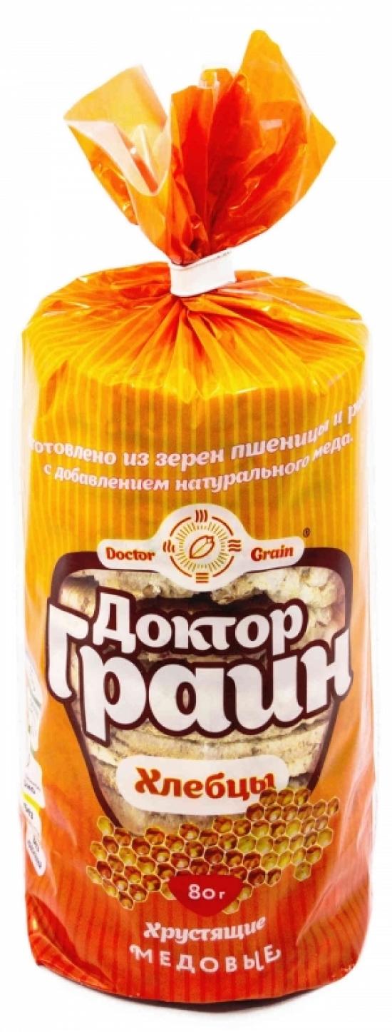 Цельнозерновые хлебцы с натуральным медом Доктор Граин 80 гр.