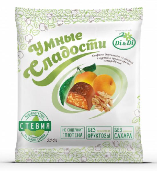 """Конфеты без сахара """"Умные сладости"""" курага с грецким орехом в шоколадной глазури 210г"""