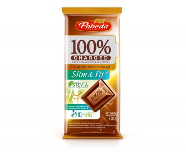 "Шоколад Молочный Без Добавления Сахара ""Чаржед"" ""Слим Энд Фит"" 100 гр"