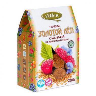 """Печенье """"Золотой Лен"""" с малиной на мальтите и стевии """"Vitlen"""", 200 г"""