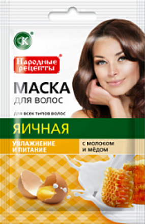 Маска для волос Яичная с молоком и медом 30 мл
