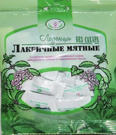 Леденцы лакричные мятные без сахара, 30г