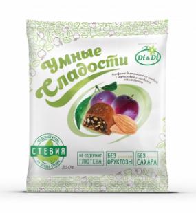 """Конфеты без сахара """"Умные сладости"""" чернослив с миндалем в шоколадной глазури 210 г"""