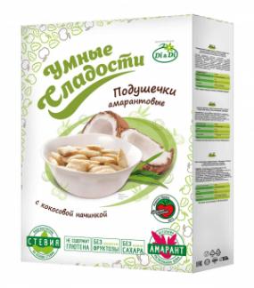 Подушечки без глютена «Умные сладости» с кокосовой начинкой со стевией 220 г
