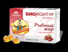 """Рыбный жир """"БиоКонтур"""" с маслом шиповника №100 капс."""