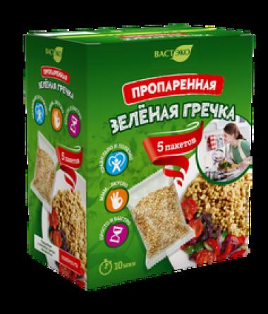 Пропаренная зелёная гречка (5 пакетов), 350 г