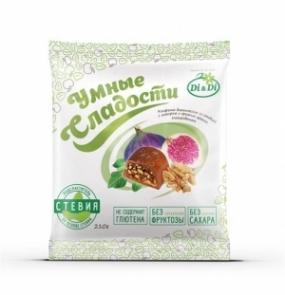 """Конфеты """"Умные сладости"""" с инжиром и грецким орехом, глазированные 210 гр"""