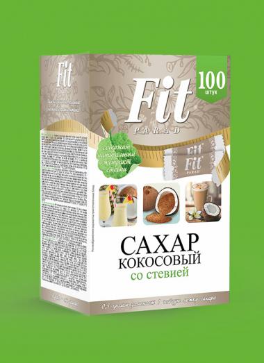 Кокосовый сахар Fit Parad со стевией, коробка стиков 100 шт