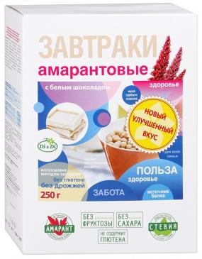 Завтраки амарантовые с белым шоколадом, 250 г