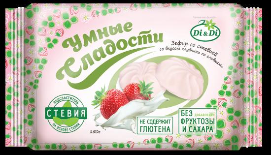 """Зефир """"Умные сладости"""" со стевией со вкусом клубники со сливками 150 г"""