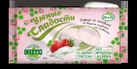 """Зефир """"Умные сладости"""" со стевией со вкусом клубники со сливками 50 г"""